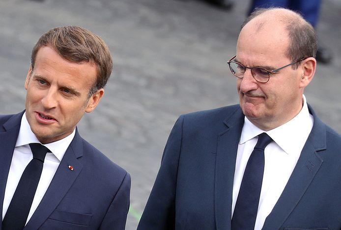 Le président français Emmanuel Macron et son Premier ministre Jean Castex