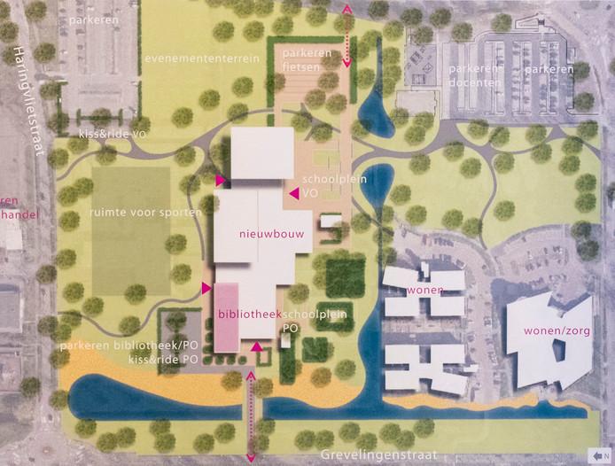 Een schets van de nieuwbouwplannen van de school