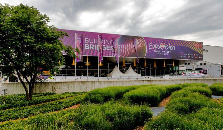 Exterieur van de Wiener Stadthalle, waar de halve finale van het Eurovisiesongfestival plaatsvindt. Beeld anp