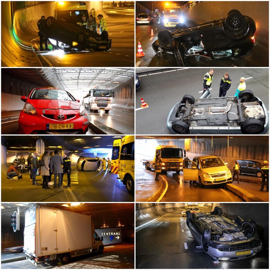 Deel van de vele ongelukken in de Willemstunnel