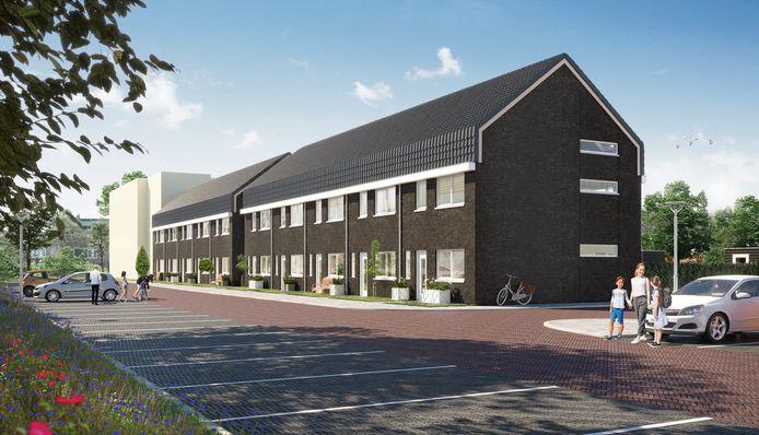 Rechts de tien koopwoningen van ontwikkelaar Van Busselgroep bij het spoor in Mierlo-Hout.