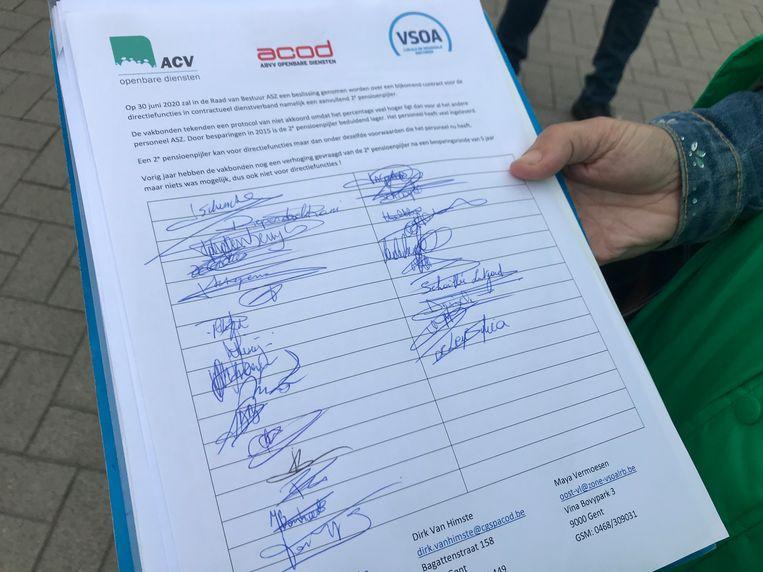 Vakbonden gaven de handtekeningen af aan de directie van het ASZ.