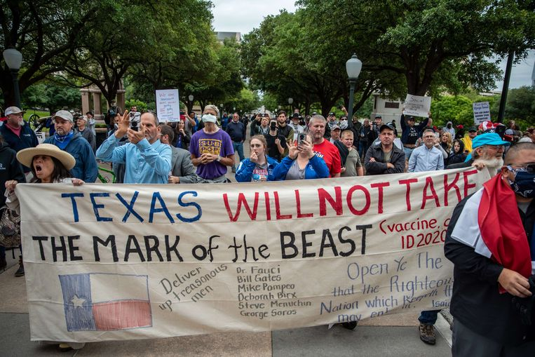 Demonstranten in Texas Beeld AFP