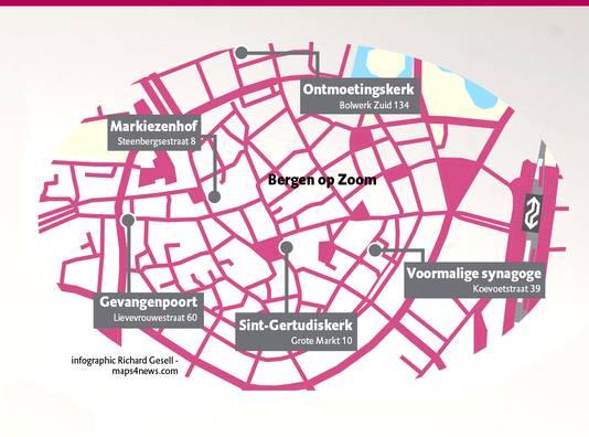 Vijf locaties in Bergen op Zoom,  het Markiezenhof, Gevangenpoort, voormalige synagoge, Gertrudiskerk en Ontmoetingskerk