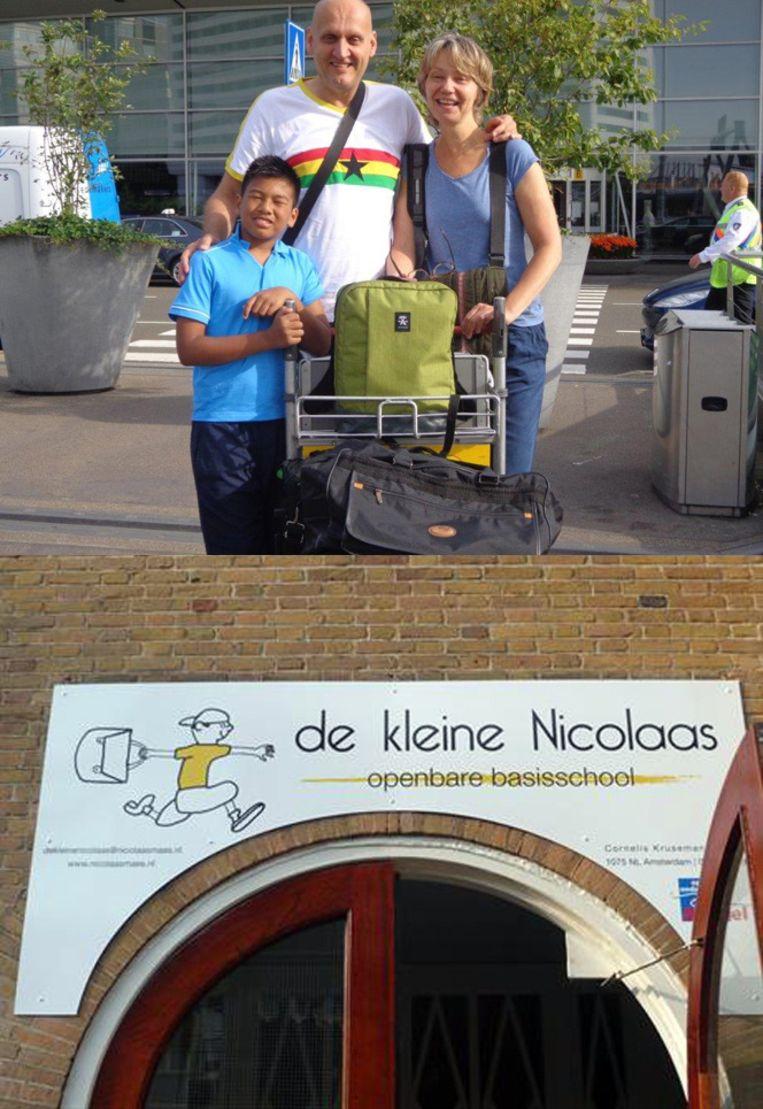 De familie Kamsma - Bras op een foto vlak voor vertrek op Schiphol (boven), en het logo van OBS De Kleine Nicolaas, dat Guo Kamsma ontwierp. De foto's zijn door de familie toegezonden aan e Volkskrant. Beeld Familie Kamsma - Bras