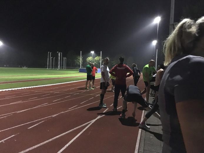 Aan het einde van de training was het al helemaal donker.