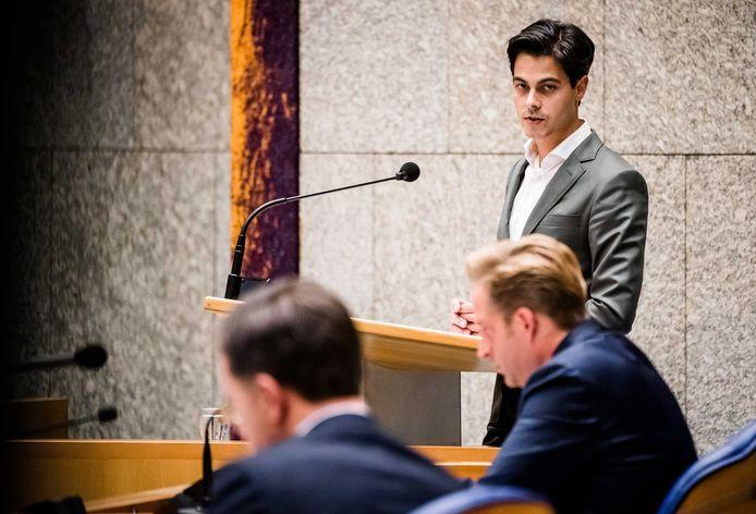 Rob Jetten, Minister Hugo de Jonge  en premier Mark Rutte tijdens een Tweede Kamer-debat over het coronavirus.