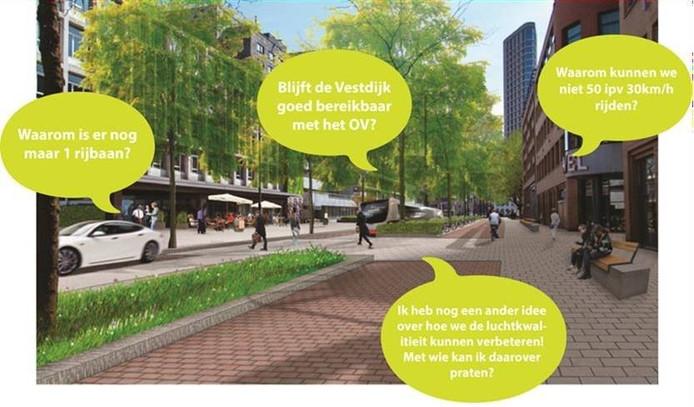 Betrokkenen krijgen inspraak over de herinrichting van de Vestdijk in Eindhoven.