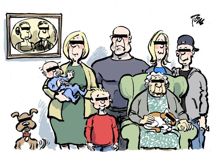 Deze cartoon van Tom Janssen, afgedrukt in het Brabants Dagblad van 3 februari 2018, staat nu op de omslag van het onderzoek 'Interveniëren in criminele families'.