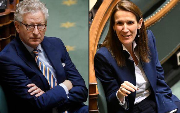 Minister van Binnenlandse Zaken Pieter De Crem (CD&V) en premier Sophie Wilmès (MR).