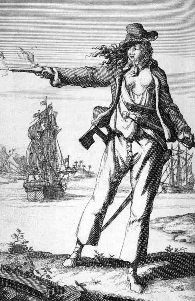 Anne Bonny op een ets uit de 18de eeuw.