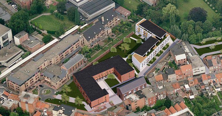 Een blik op de toekomstige invulling van de site van het slotklooster, met centraal de assistentiewoningen en flats.