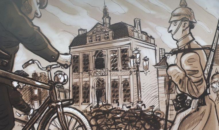 Ale fietsen worden door de Duitser bezetter in beslag genomen en verzameld op de Grote Markt.