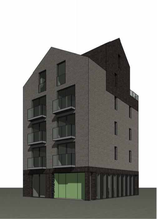 Het appartementenblokje aan de Burgemeester Brokxlaansluit harmonisch aan op omliggende gevels.