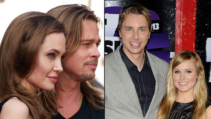 Angelina Jolie en Brad Pitt (l) en Dax Shepard en Kristen Bell (r)
