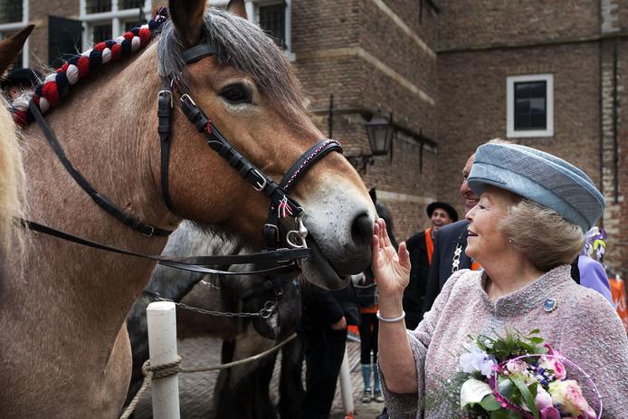 Koningin Beatrix streelt een paard tijdens Koninginnedag in Middelburg in 2010.
