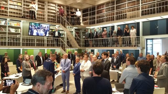De installatie van de nieuwe wethoudersploeg in Deventer woensdagavond op het stadhuis.