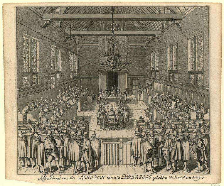 De Nationale Synode van Dordrecht op 13 november 1618. In het midden de later uitgezette 'ketterse' remonstranten.  Beeld Collectie Rijksmuseum