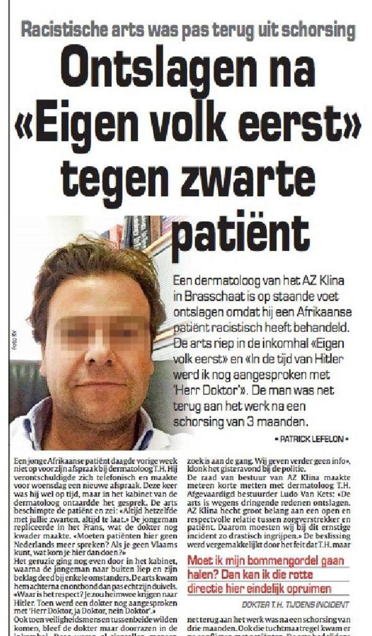 Het nieuws over de ontslagen dermatoloog verscheen op 24 januari 2017.
