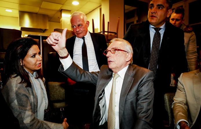 Lijstduwer Jos van Rey tijdens de uitslagenavond van zijn partij LVR in een cafe in het centrum van Roermond.