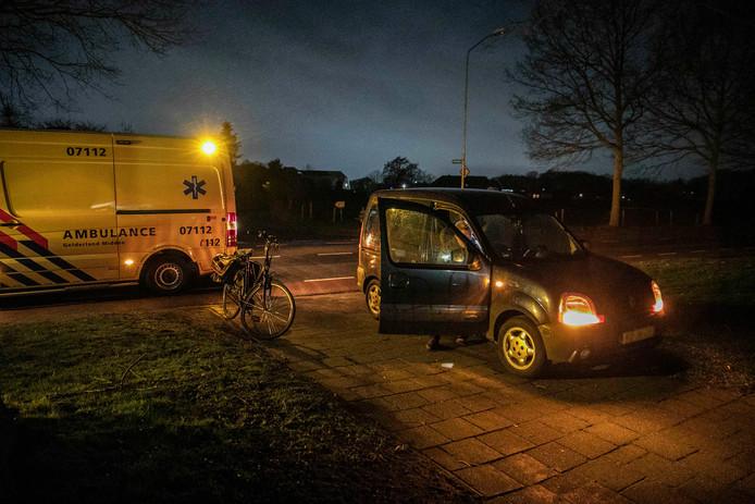 De fiets en auto kwamen met elkaar in botsing in Rheden.