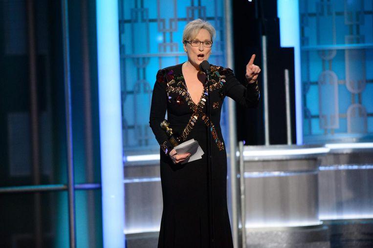 Meryl Streep fulmineerde in haar speech bij de uitreiking van de Golden Globes tegen Trump. Beeld epa