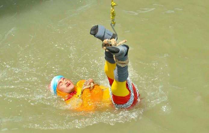 Chanchal Lahiri in actie.