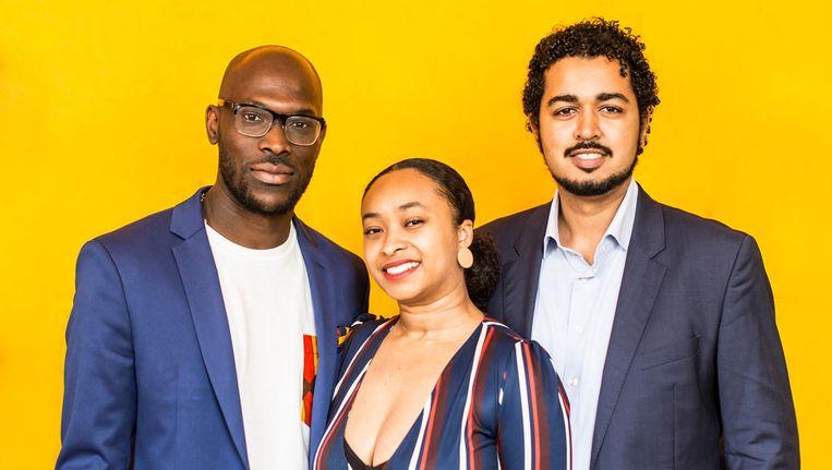 Mitchell Esajas, Jessica de Abreu en Miguel Heilbron van The Black Archives. Beeld Eva Plevier