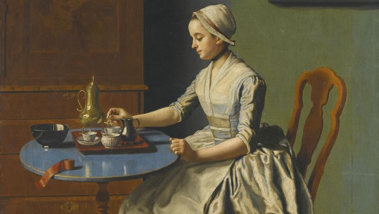Hollands meisje aan het ontbijt, olieverf op doek van Jean-Étienne Liotard (1702-1789). Het Rijksmuseum kocht dit pareltje voor 5,2 miljoen euro. Een record voor de kunstenaar. Beeld