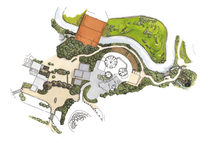 Schets van de vernieuwde entree (links) met daarachter onder meer het Safari Restaurant (midden) en het gorilla-eiland (boven).