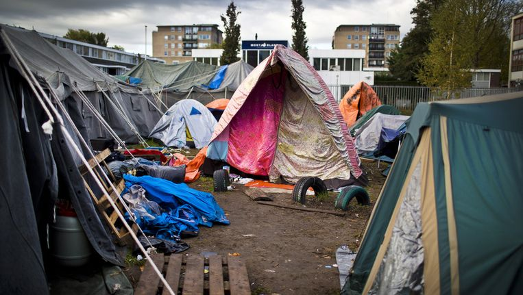 Het tentenkamp in Amsterdam Osdorp. Beeld ANP