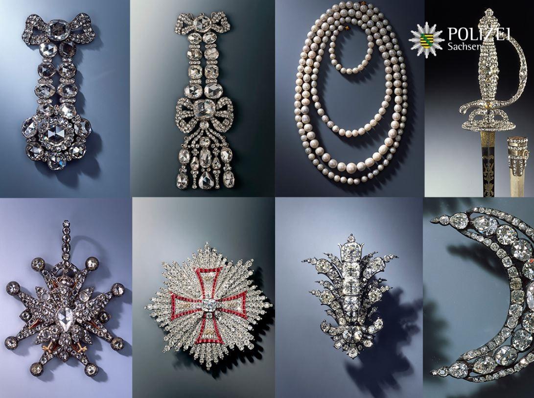 Het gaat om tien sieraden uit de achttiende eeuw, variërend van diamanten en briljanten broches en epauletten tot een ketting met Saksische parels en een met 770 diamanten bezette sabel.