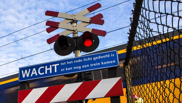 Een spoorwegovergang in Nederland.