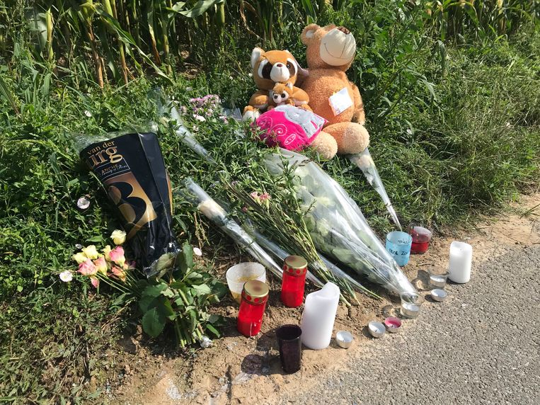 Kayleigh - bloemen, knuffels en kaartjes op de plaats van het ongeval in Nieuwerkerken