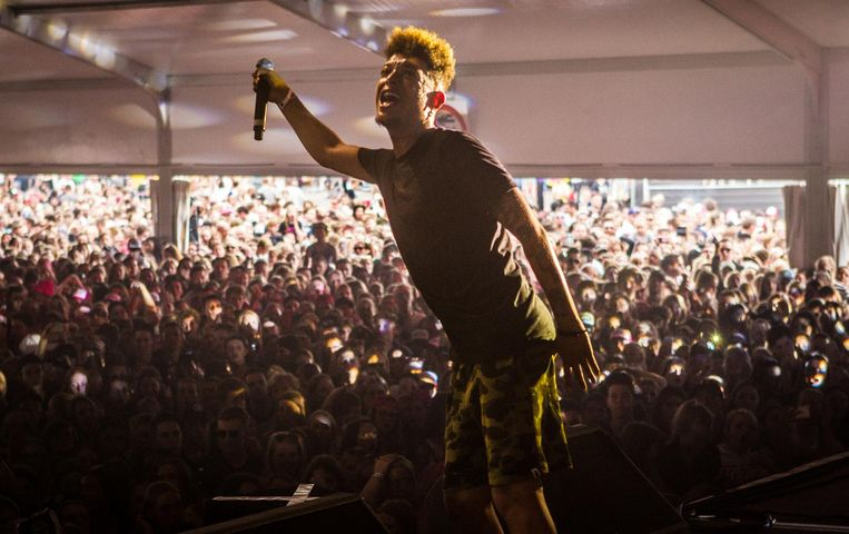 Ronnie Flex tijdens zijn optreden bij Pinkpop, afgelopen juni. Beeld ANP Kippa