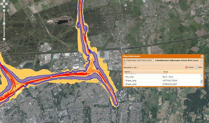 Geluidskaart van Rijkswaterstaat voor Blixembosch (onder) in Eindhoven en  't Zand in Son en Breugel (rechts naast de snelweg).