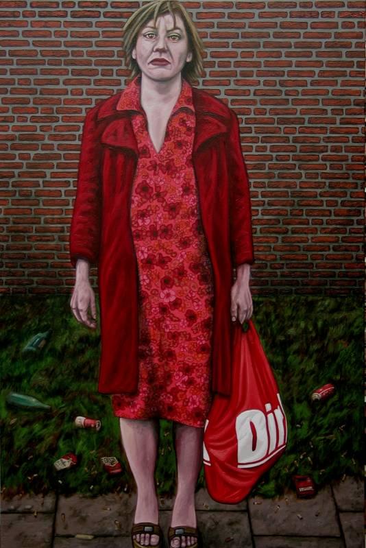 Portret van een vrouw met een boodschappentas getiteld Dirk. Suidmans vriendin Sarah Gunti stond hiervoor model.