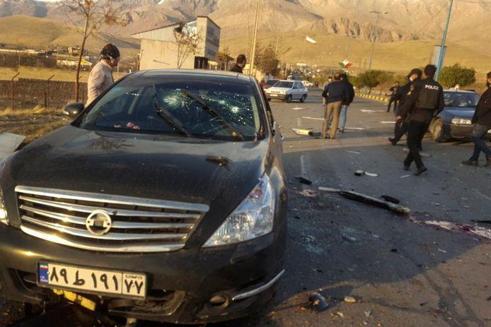 De plek van de aanslag op Mohsen Fakhrizadeh in Absard, een kleine plaats ten oosten van de Iraanse hoofdstad Tehran.