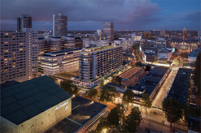 Een eerdere impressie van het dakterras boven op het appartementencomplex City House op de hoek van de Karel Doormanstraat en de Kruiskade.