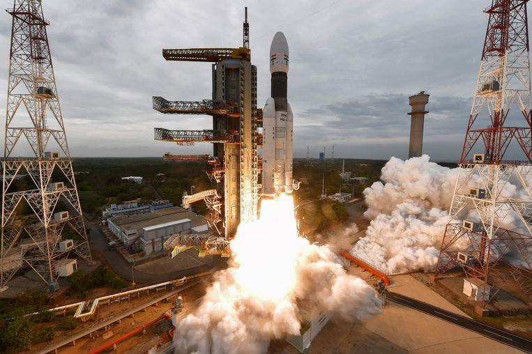 De Chandrayaan-2 tijdens de lancering.