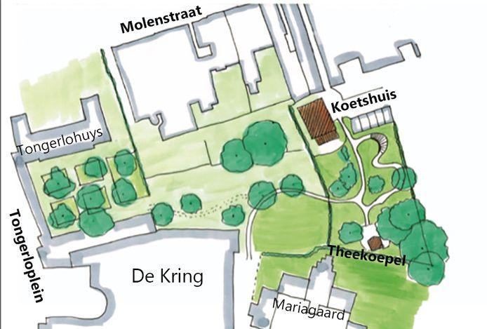 De plannen voor de tuin tussen het De Kring, Tongerlohuis en Koetshuis. Tekening Schaap en Sturm architecten