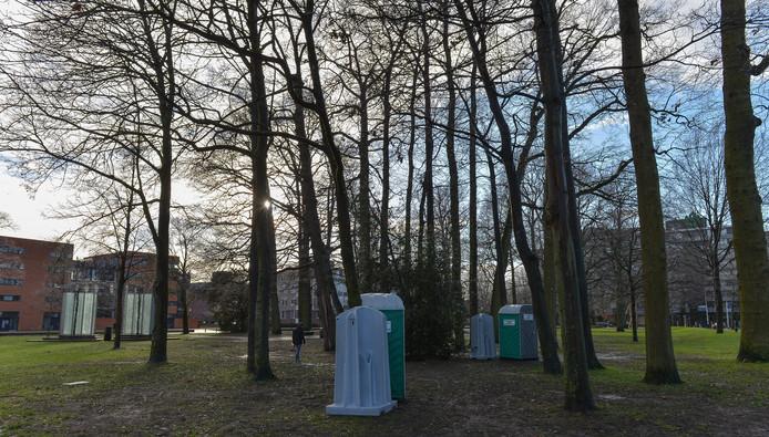 De dag voor de demonstratie van Pegida is er in het Beekpark nog weinig te zien.