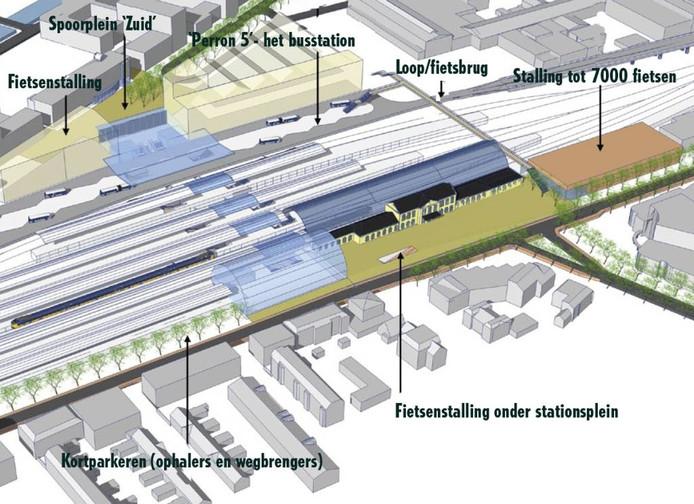 Een plattegrondje van de belangrijkste wijzigingen: waar komt wát, als alle plannen worden uitgevoerd? Illustratie: Nieuwsbrief Spoorzone Zwolle