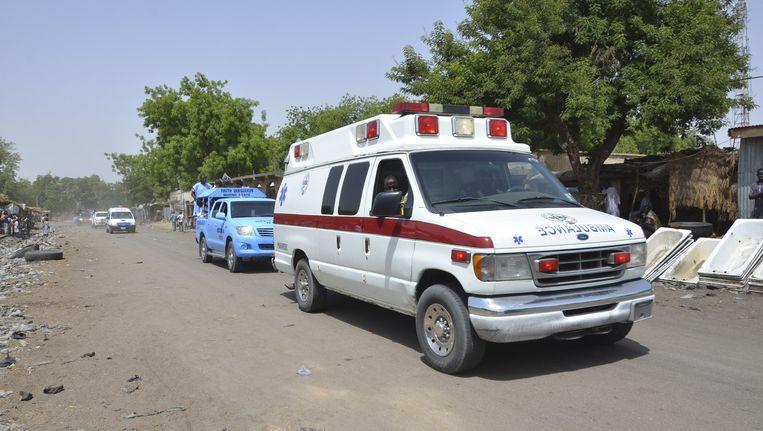 Een ambulance in Maiduguri na een aanslag vorige week Beeld ap