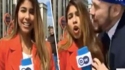 Colombiaanse voetbaljournaliste wordt live op televisie betast in Rusland
