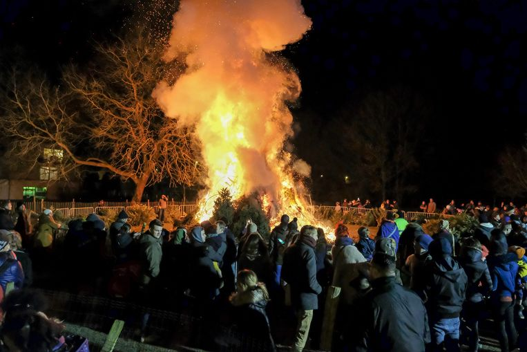 Kerstboomverbranding in Nossegem.