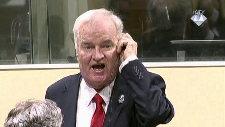 Ratko Mladic vandaag in Den Haag. Beeld ap