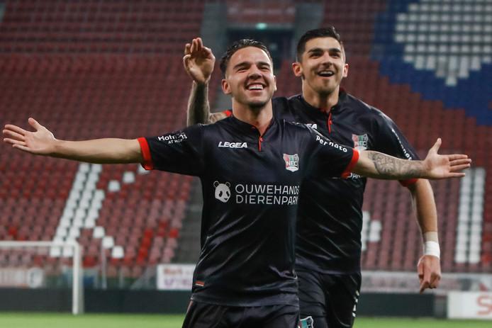 Calvin Verdonk scoort zijn tweede treffer in het betaald voetbal tegen Jong FC Utrecht. Afgelopen vrijdag scoorde hij zijn eerste tegen FC Volendam.