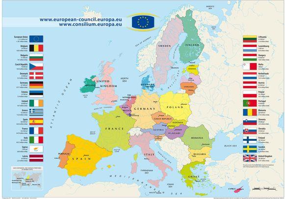 De 28 lidstaten van de Europese Unie.