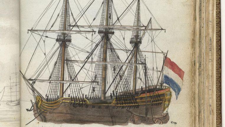 Kleurtekening van een VOC-schip van ca. 150 voet met een schuit langszij. Onderdeel uit het schetsboek van Jan Brandes, deel 2 (1808). Beeld Jan Brandes / Rijksmuseum